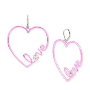 Betsey Johnson Crystal Love Heart Drop Earrings